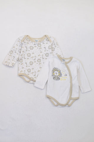 Ackermans 2 Pack White & Beige Lion Little One Baby Grows Unisex 0-3 months