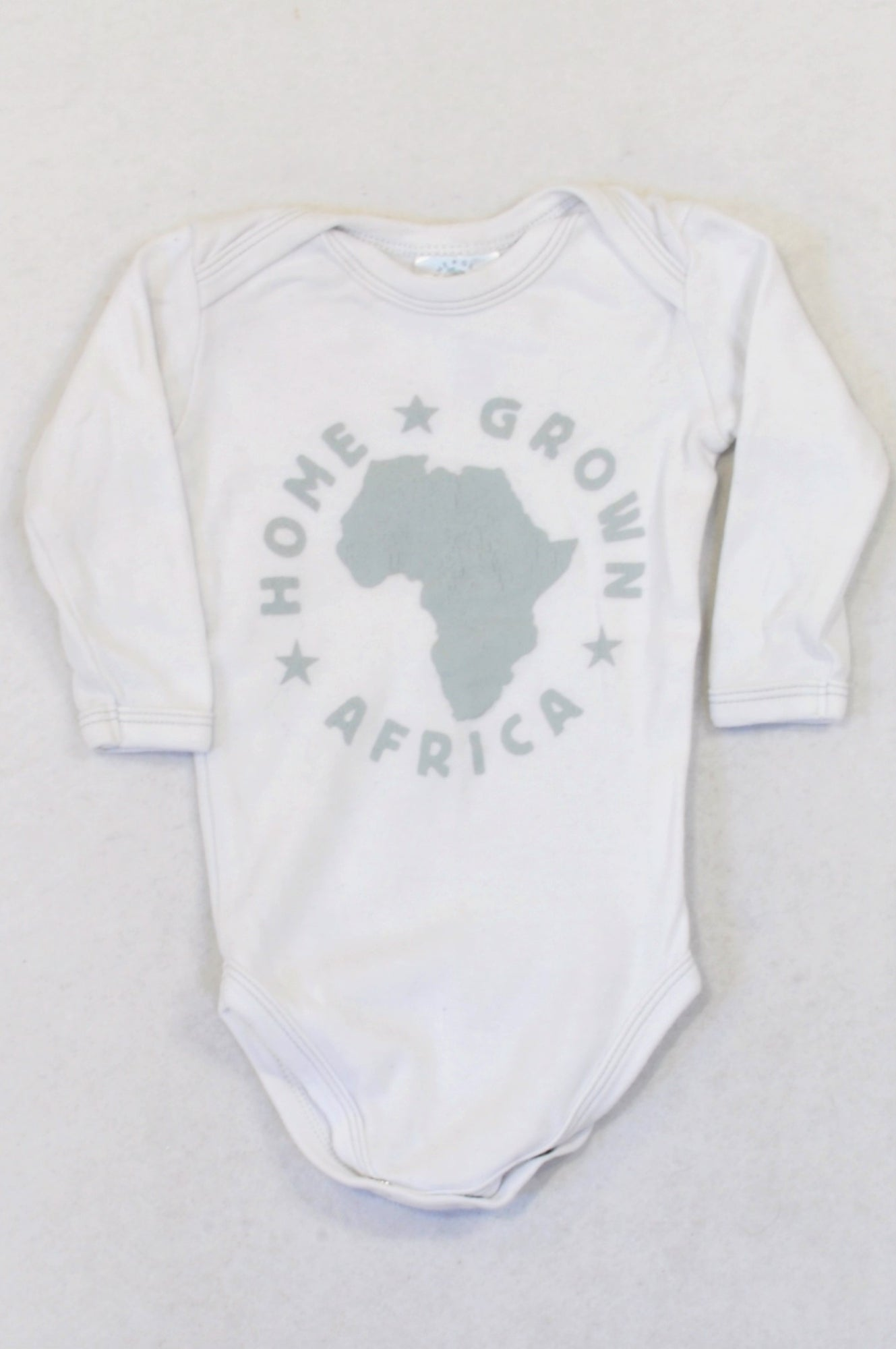 Home Grown White & Grey Print Africa Baby Grow Unisex 3-6 months