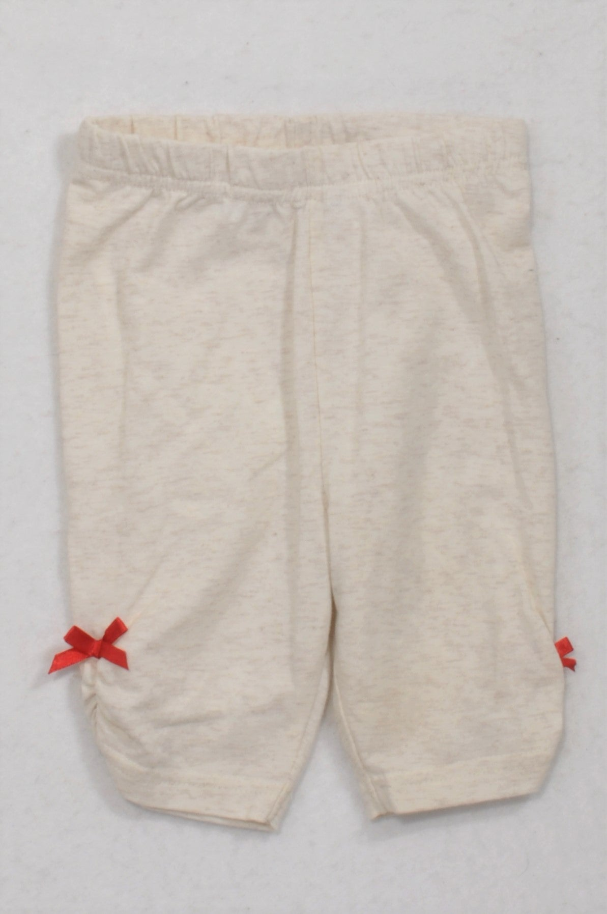 Ackermans Ivory Heathered Red Bow Leggings Girls 6-12 months