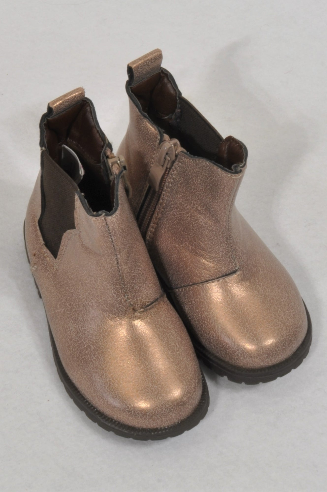 8498959f2f30 New Woolworths Size 4 Golden Brown Zipper Boots Girls 12-18 months – Once  More