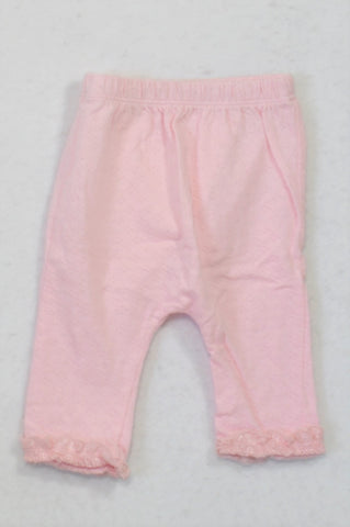 Woolworths Soft Pink Textured frill Trim Leggings Girls 0-3 months