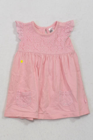 Ackermans Soft Pink Lace Inset Pocket Dress Girls 3-6 months