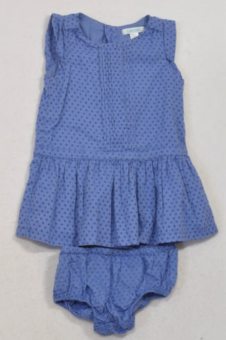 Obaibi Blue Square Detail Bloomers & Dress Girls 3-6 months