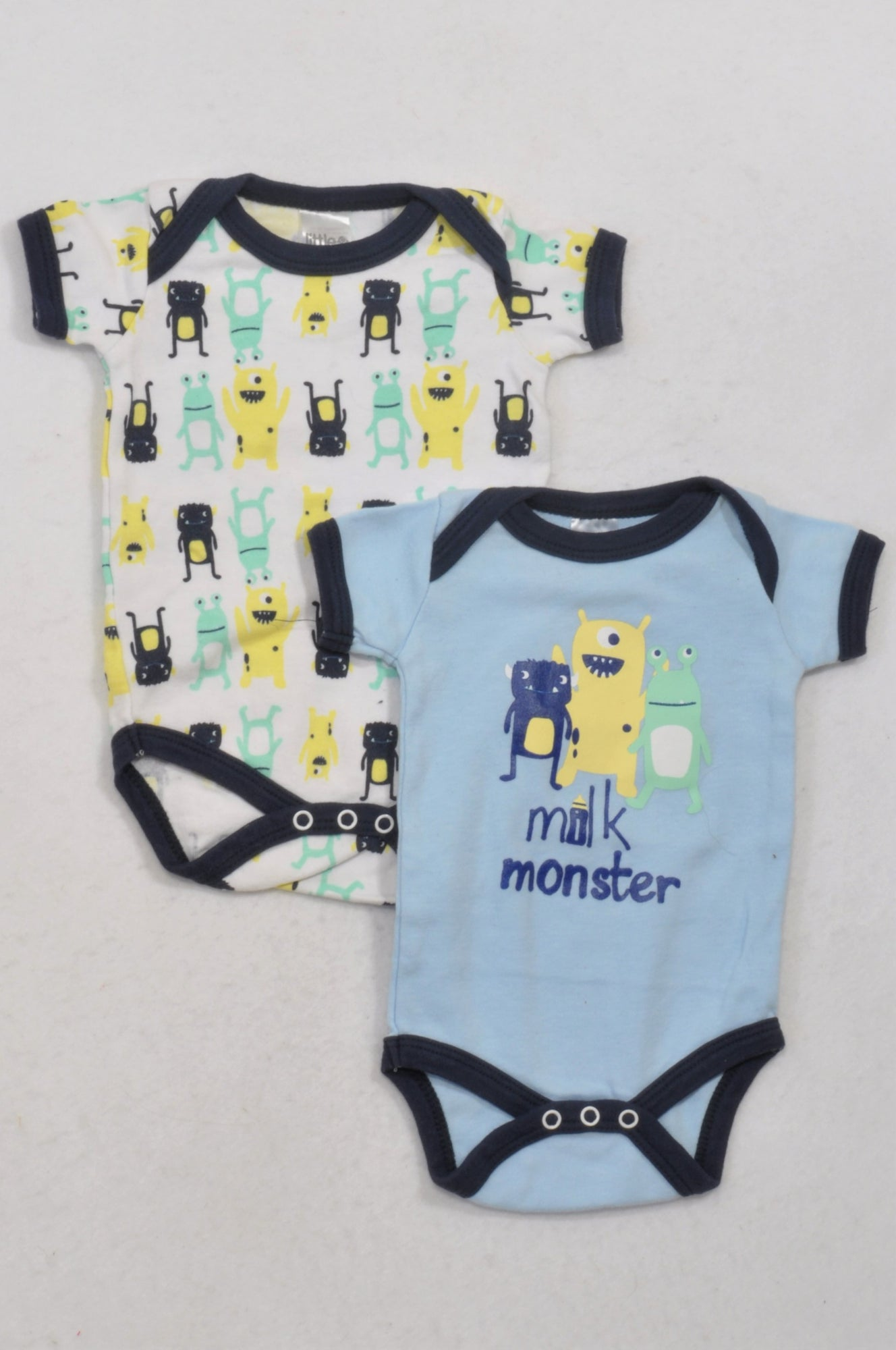 31dca48eb Little One 2 Pack Friendly Monster Baby Grows Girls 3-6 months ...
