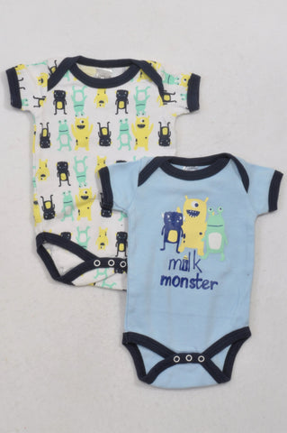 Little One 2 Pack Friendly Monster Baby Grows Girls 3-6 months
