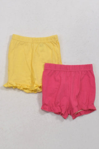 Ackermans 2 Pack Yellow & Cerise Frill Shorts Girls 3-6 months