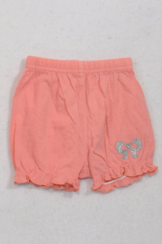 Woolworths Peach Little Bow Frill Trim Shorts Girls 3-6 months