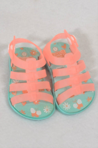 Ackermans Size 1 Coral & Aqua Sandals Girls 3-6 months