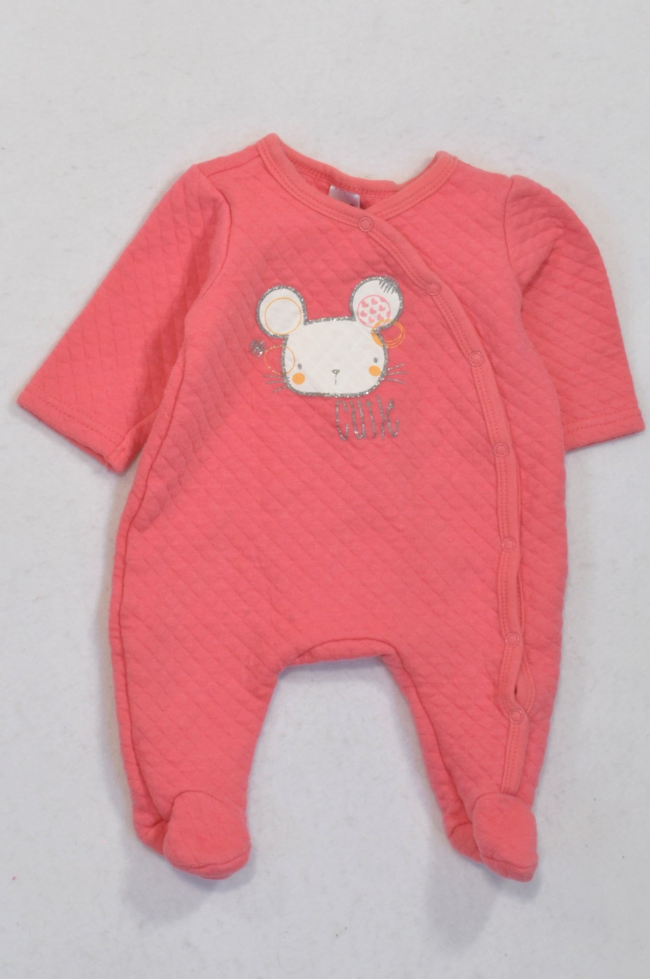 Ackermans Coral Quilted Cutie Mouse Onesie Girls 0-3 months