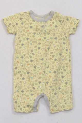 2e55a08142b3 Woolworths Yellow   Grey Trim Animal Romper Girls 3-6 months