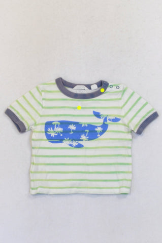Country Road Green Stripe Whale T-shirt Boys 6-12 months