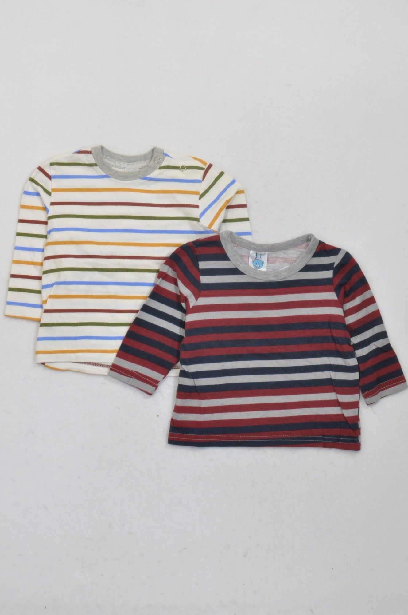 Ackermans 2 Pack Multicolored Striped T-Shirts Boys 3-6 months