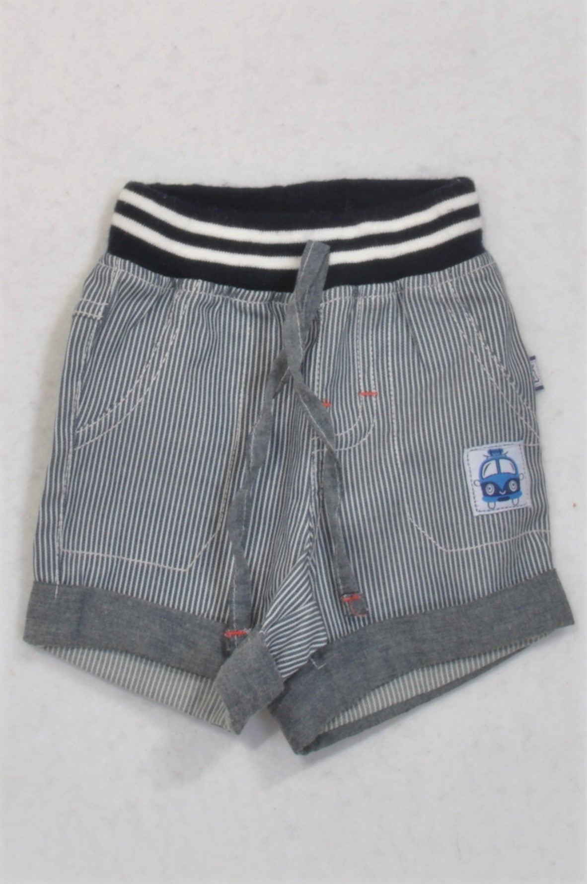 Ackermans Grey Pinstripe Banded Shorts Boys 0-3 months