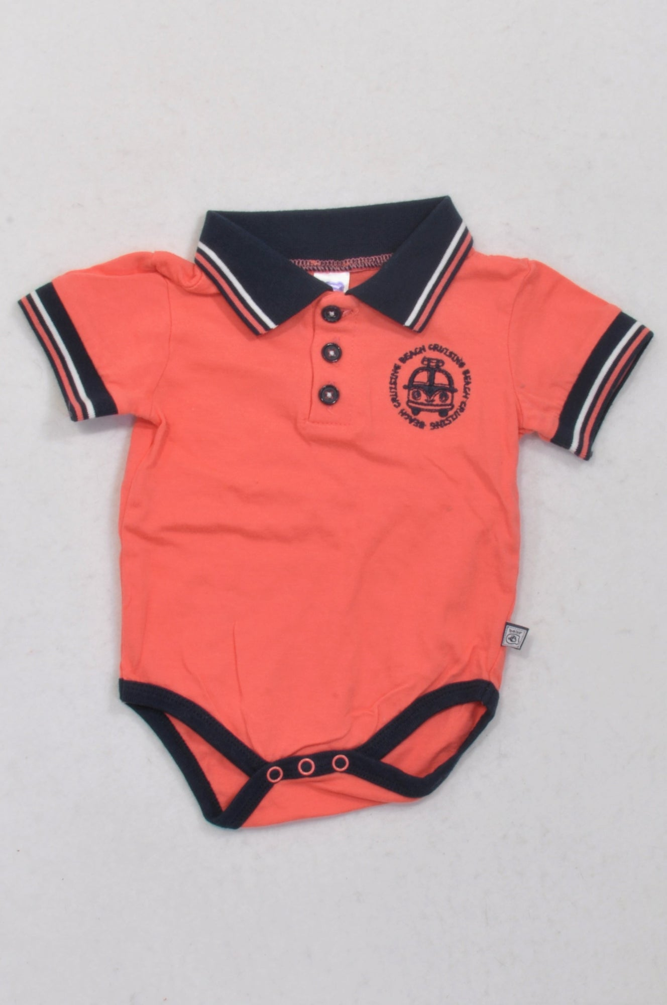 Ackermans Coral & Navy Trim Collared Baby Grow Boys 0-3 months