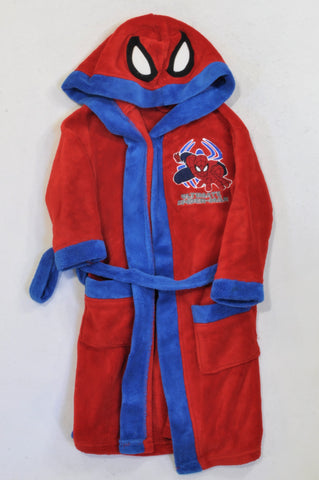 Woolworths Blue & Red Fleece Spiderman Dressing Gown Boys 5-6 years