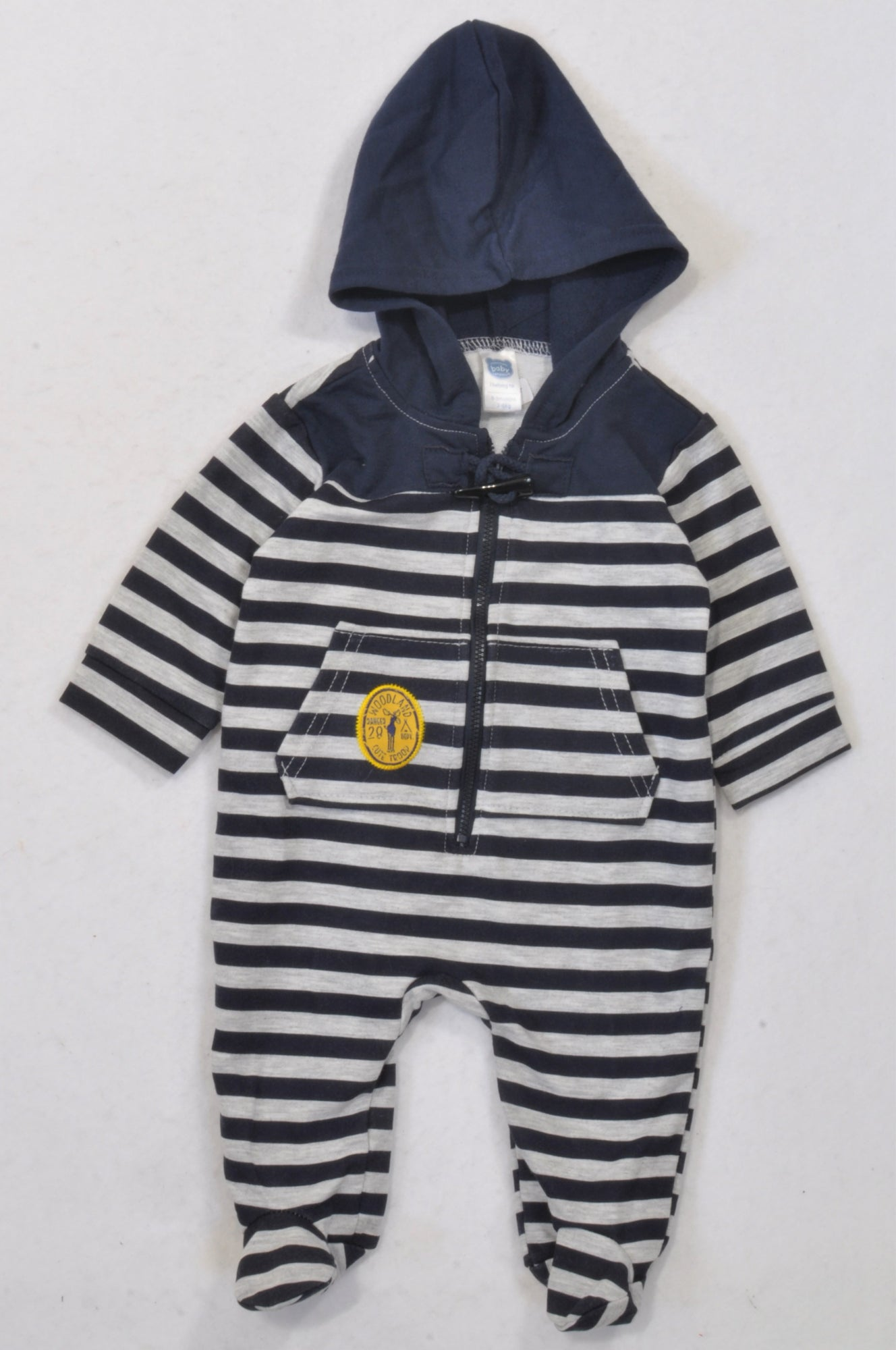 Ackermans Navy & Grey Striped Toggle Hooded Onesie Boys 0-3 months