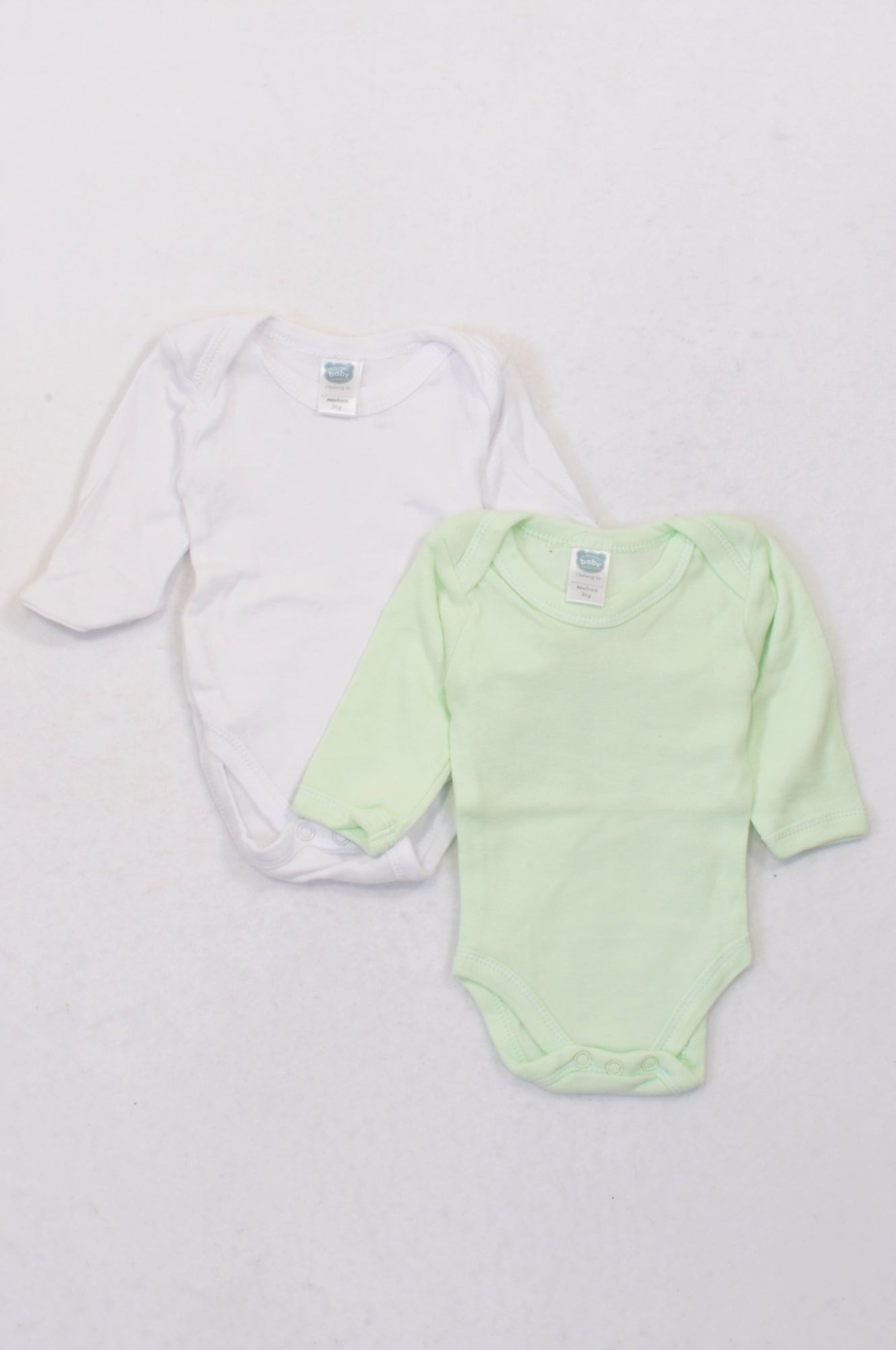 Ackermans 2 Pack Basic White & Mint Baby Grows Unisex N-B