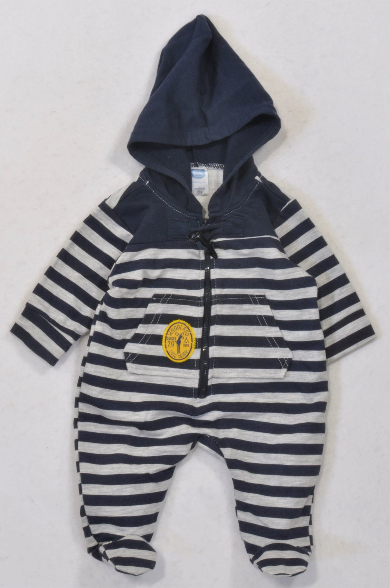 Ackermans Navy & Grey Striped Toggle Hooded Onesie Boys N-B