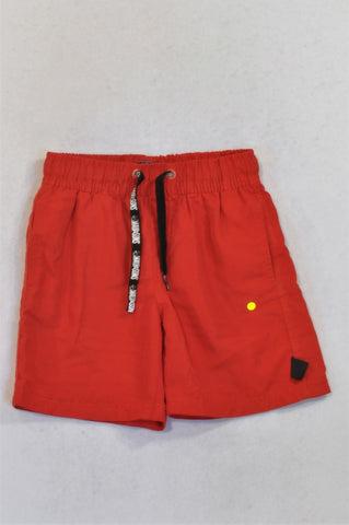 Maui & Sons Red Black Drawstring Shorts Boys 5-6 years