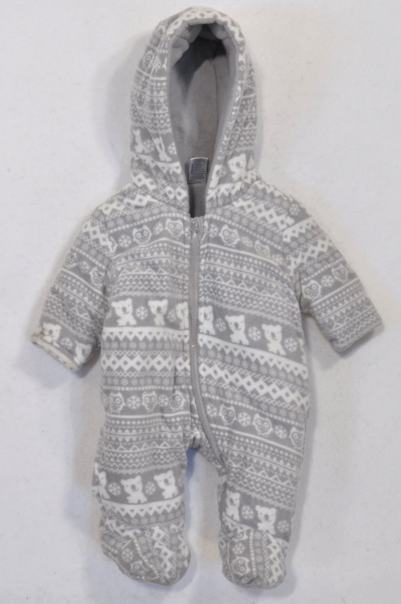 Ackermans Grey & White Teddy Owl Fleece Snow Suit Unisex N-B