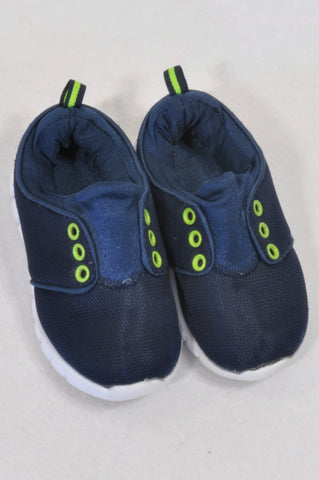 Size 7 Navy Lime Trim Sporty Shoes Boys 2-3 years