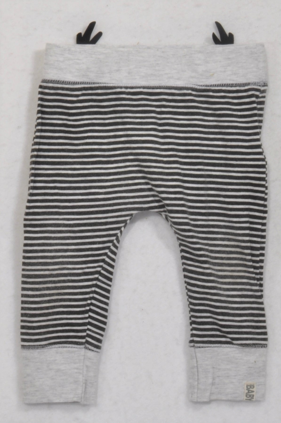 Cotton On Black White Striped Reindeer Leggings Unisex 6 12 Months Once More
