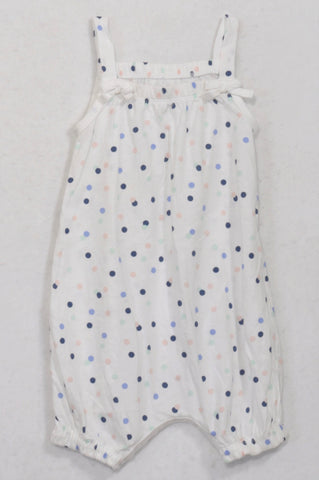 Woolworths Blue, Pink & Mint Dotty Romper Girls 12-18 months