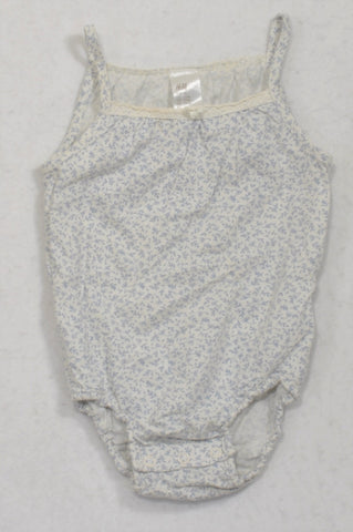 H&M Blue Ditsy Spaghetti Strap Baby Grow Girls 6-9 months