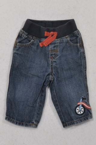 Gymboree Banded Embroidered Bicycle Jeans Boys 3-6 months