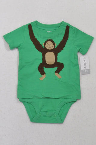 New Carter's Green Hanging Monkey T-Shirt Overlay Baby Grow Unisex 6-12 months