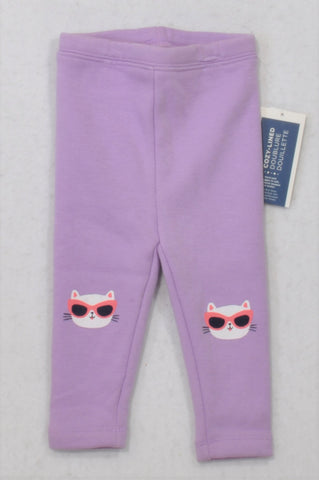 New Old Navy Lavender Cozy-Lined Cool Cat Leggings Girls 12-18 months