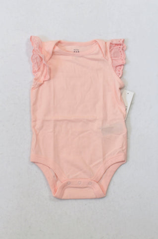 New GAP Soft Pink Eyelet Flutter Baby Grow Girls 6-12 months