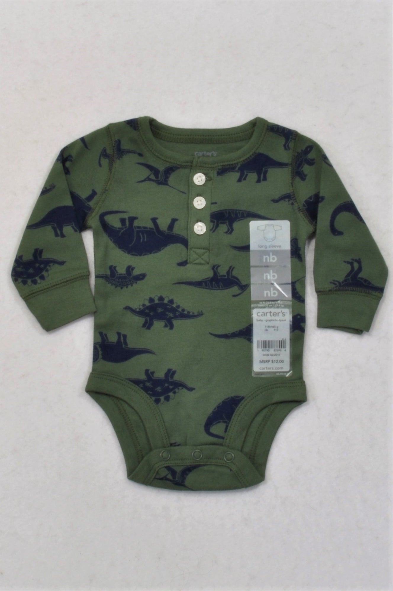 f9e41daa25d6 New Carter s Olive   Navy Dino Graphic Baby Grow Boys N-B – Once More