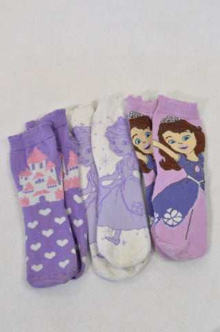 3 Pack Purple Sofia Socks Girls 9-11 years