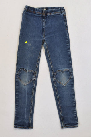 & Tights Medium Wash Denim Heart Patch Skinny Jeans Girls 4-5 years