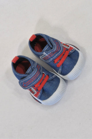 Ackermans Size 1 Chambray & Red Trim Route 88 Shoes Boys 3-6 months
