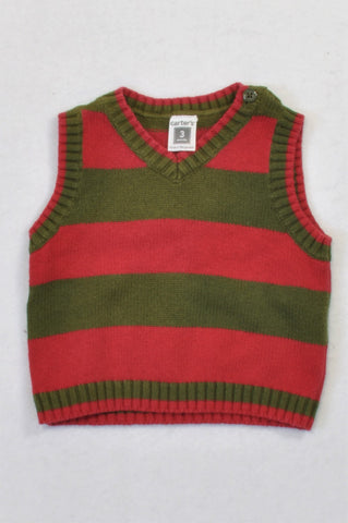 Carter's Red & Olive Knit Body Warmer Boys 0-3 months
