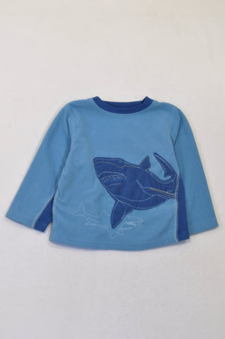 Carter's 2 Tone Blue Fleece Shark Top Boys 2-3 years