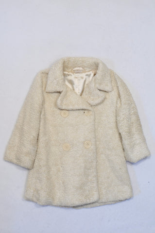Marks & Spencers Cream Textured Double Button Jacket Girls 4-5 years