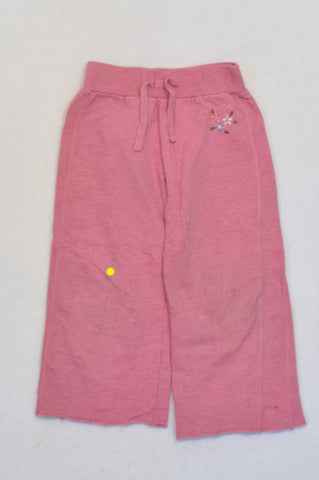 Mothercare Pink Embroidered Flower Cropped Palazzo Pants Girls 3-4 years