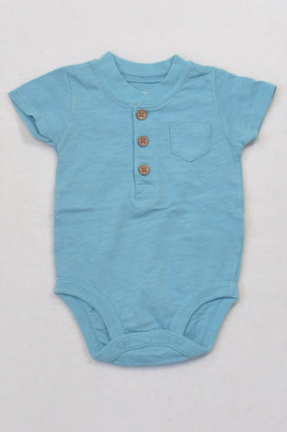 Carter's Blue Heathered Button Detail Baby Grow Boys 0-3 months