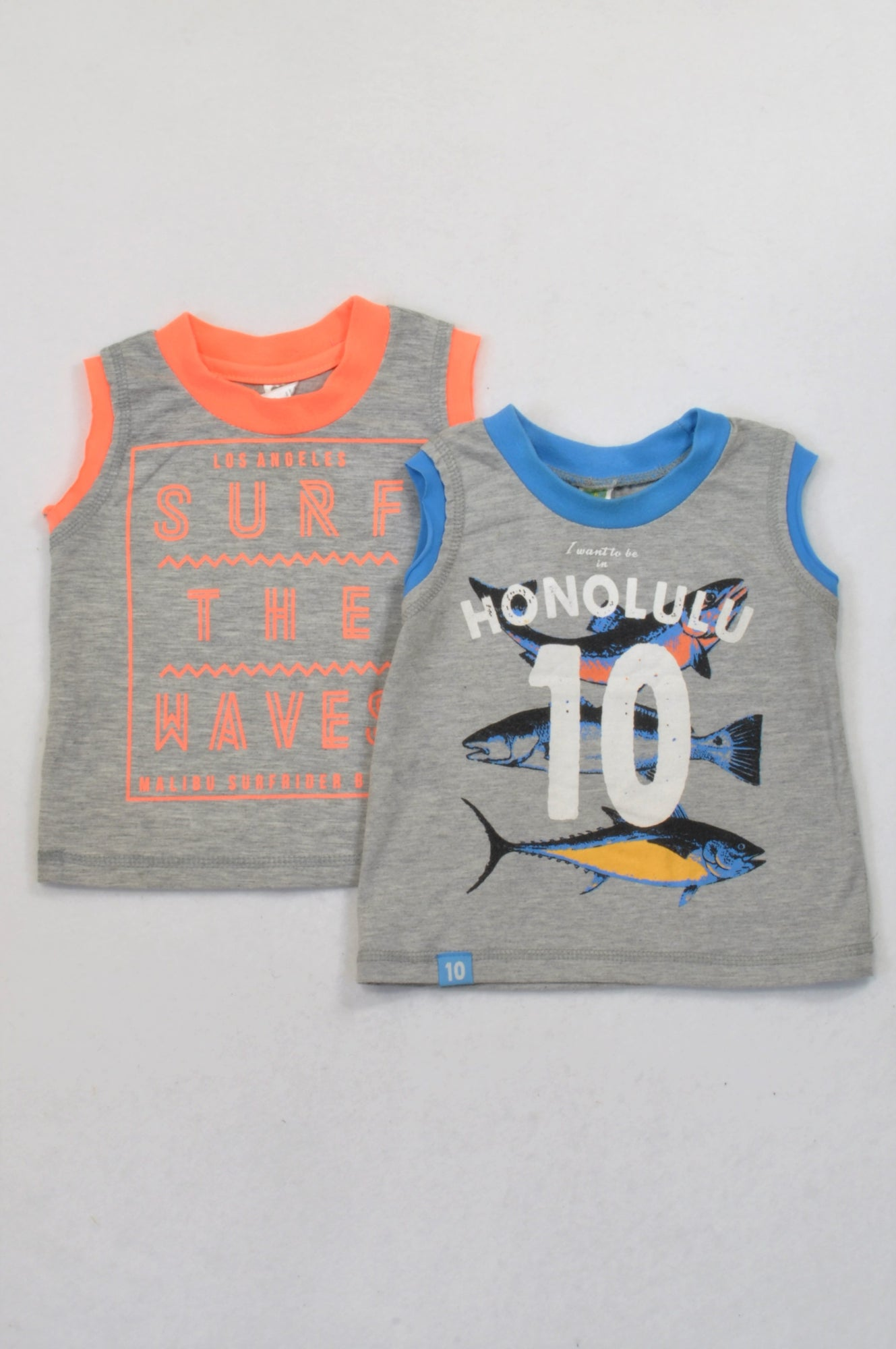 Ackermans 2 Pack Blue & Orange Trim T-Shirts Boys 12-18 months