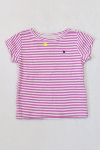 Carter's Cerise & White Small Stripe T-shirt Girls 18-24 months