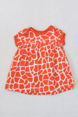Carter's Tangerine Giraffe Print Dress Girls 0-3 months