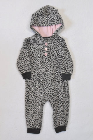 Carter's Charcoal & Pink Leopard Hooded Onesie Girls 6-12 months