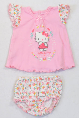 bbf4e8238 Woolworths Pink Hello Kitty Floral Trim Top & Bloomers Outfit Girls 0-3  months
