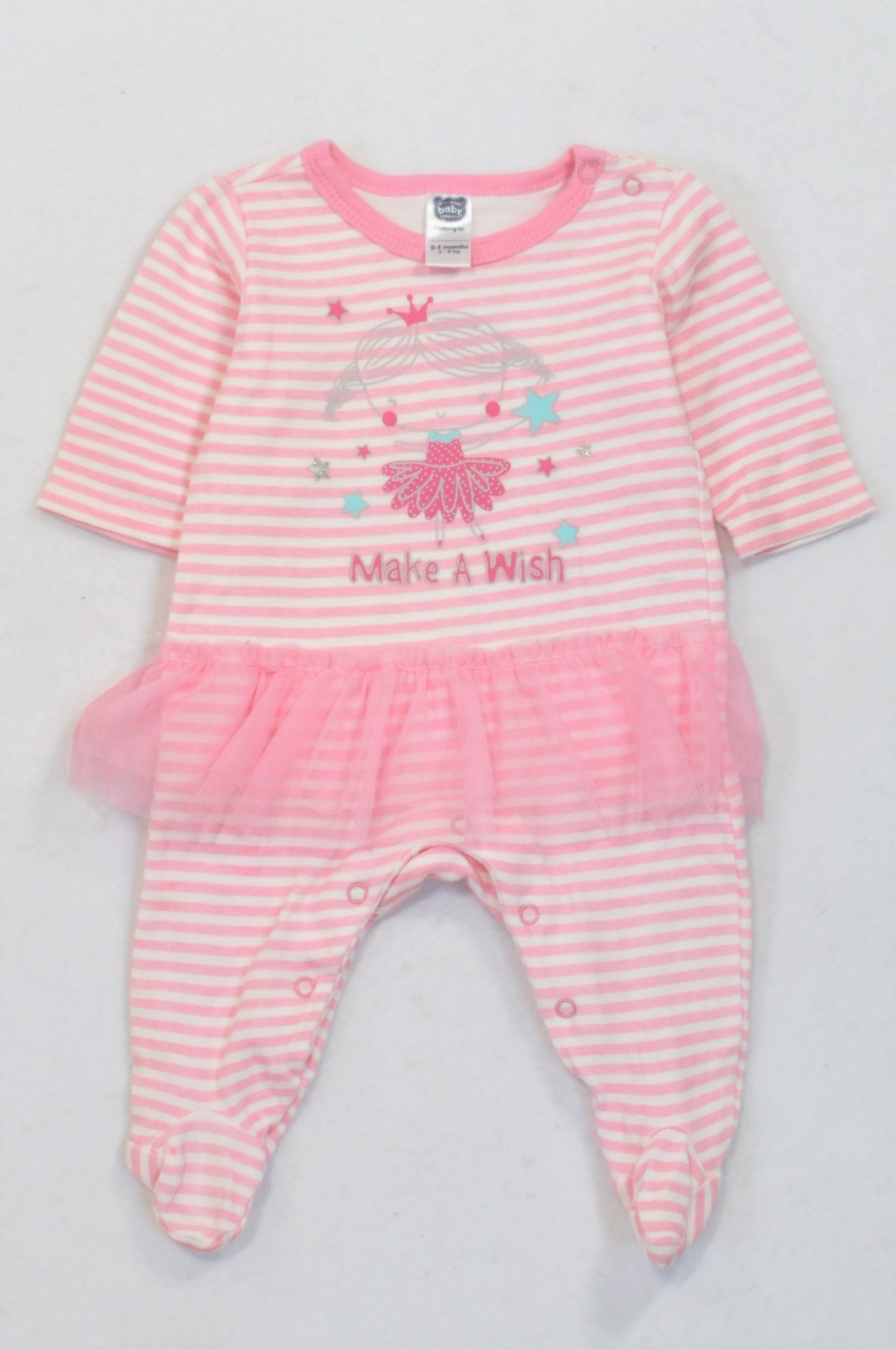 Ackermans Pink Stripe Make A Wish Tulle Onesie Girls 0-3 months