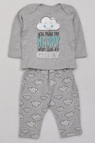 Woolworths Happy When Clouds Are Grey Outfit Unisex 3-6 months