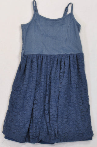 Pick 'n Pay Blue Lace Inset Dress Girls 11-12 years
