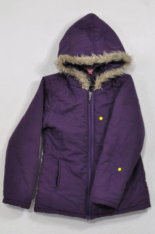 Destiny Thick Purple Faux Lined Hooded Jacket Girls 10-11 years